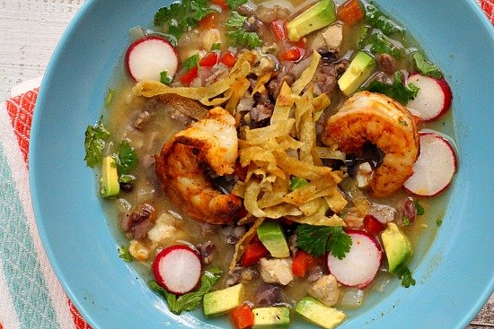 New Mexico Blue Corn Posole with Shrimp