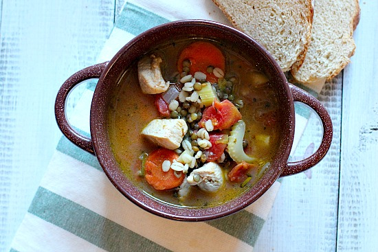 Healthy Hearty Roast Turkey Lentil Barley Soup