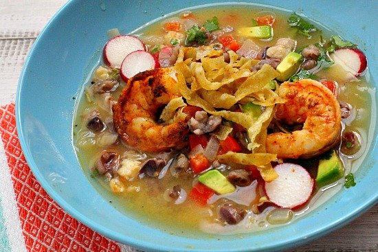 Blue Corn Posole with Shrimp and radishes