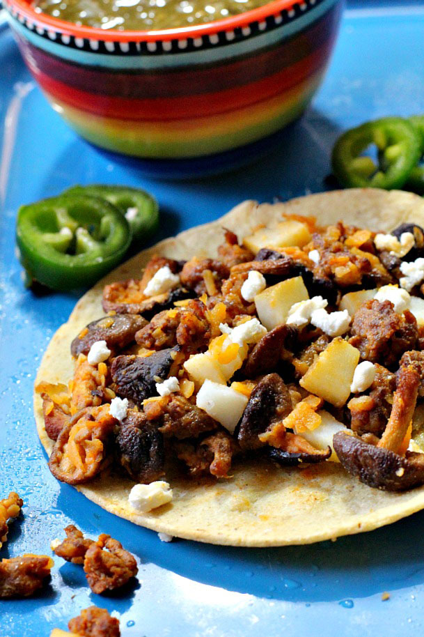 Easy chorizo potato shiitake mushroom tacos.
