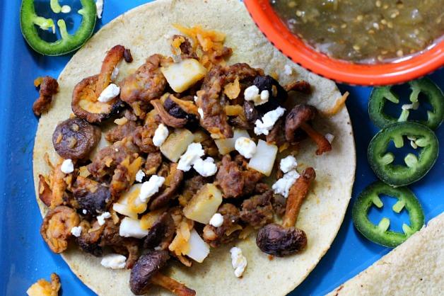 Easy weeknight taco recipe. Chorizo, potato, shiitake mushroom tacos.