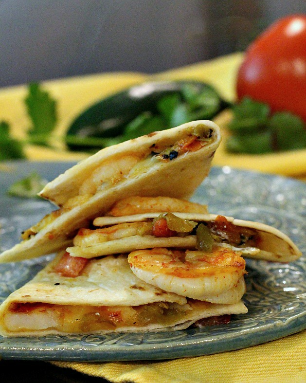 Green Chile Shrimp Quesadillas made with Hatch chili peppers