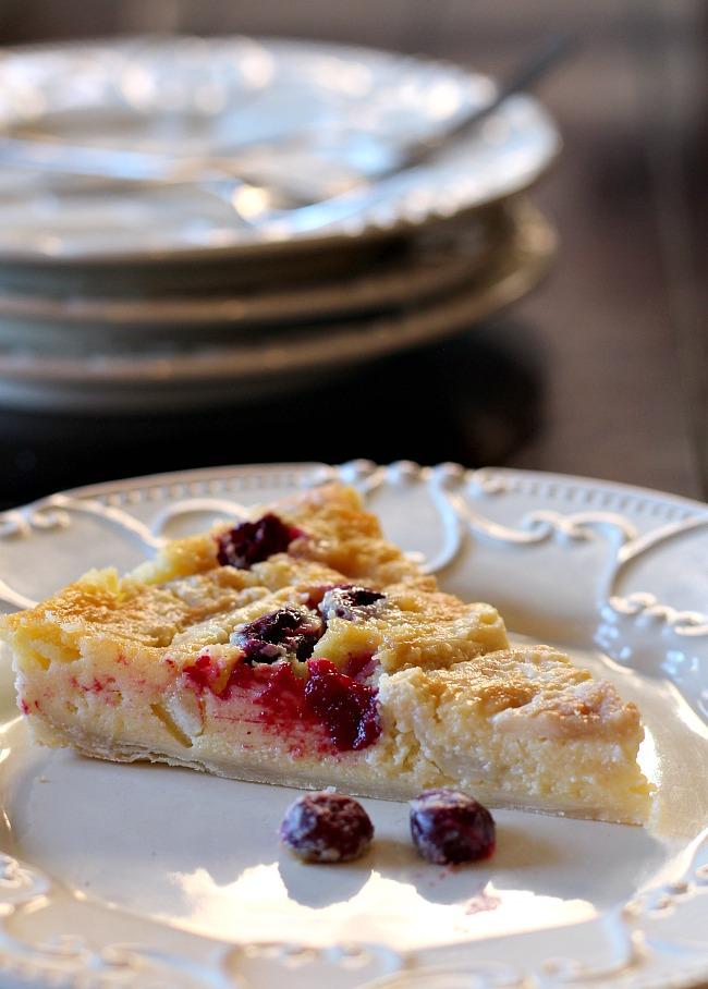 A slice of cranberry pear tart.