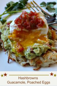 Hash Browns Guacamole Poached Eggs Breakfast with Salsa