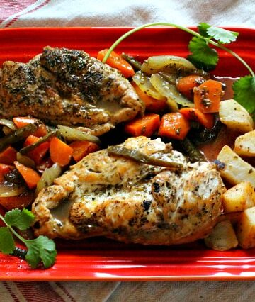 Tangy Chicken Escabeche on Le Creuset Red Serving Platter