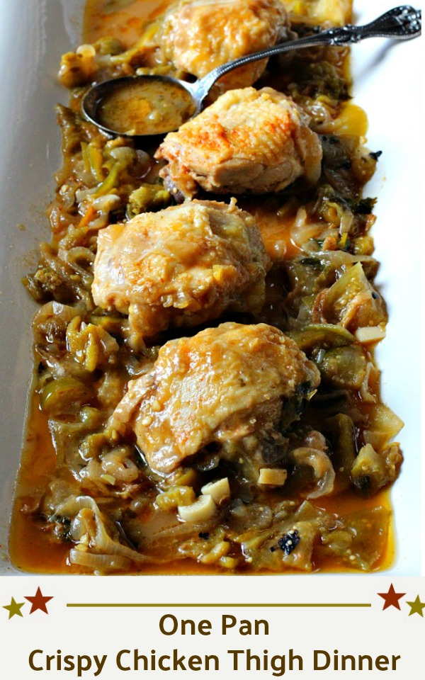 One pan crispy chicken thigh dinner sitting in a tomatillo lime sauce on a white serving platter
