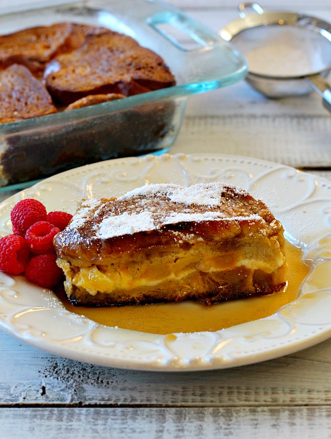 Challah bread stuffed with cream cheese and mangos for Mango stuffed french toast.