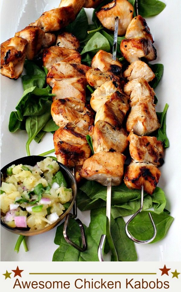 Awesome chicken kabobs with maple glaze