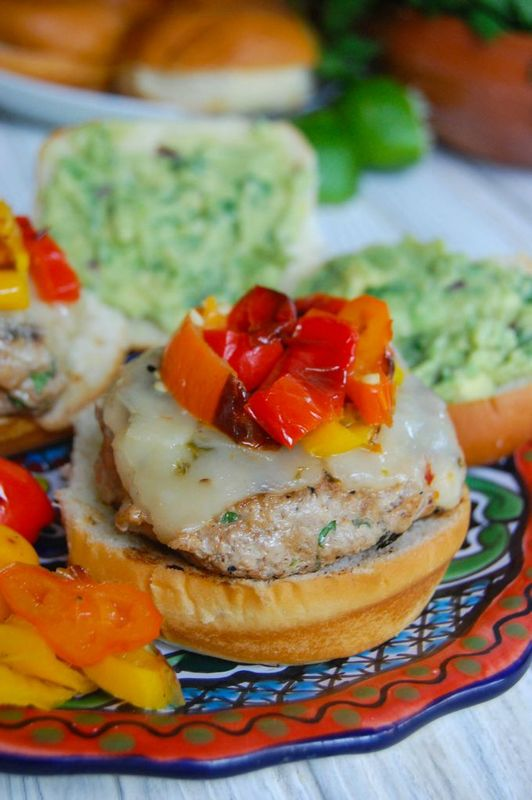 Sweet and spicy turkey burger with guacamole. Best burger recipes for Father's Day