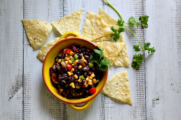 Black Bean Corn Salsa with Chipotle served with corn chips