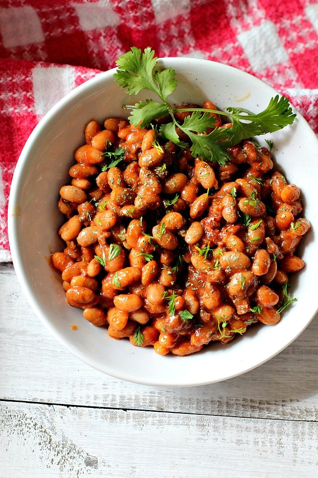 Pinto beans that have been cooked in an Instant Pot Pressure Cooker with tomatoes and chorizo sausage