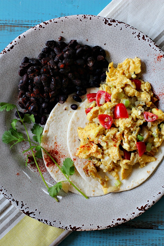 Rio grande scrambled eggs with Hatch green chili peppers