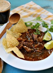 Anthony Bourdaine's Hatch chile beef chili recipe made with pot roast with lime and tortilla chips