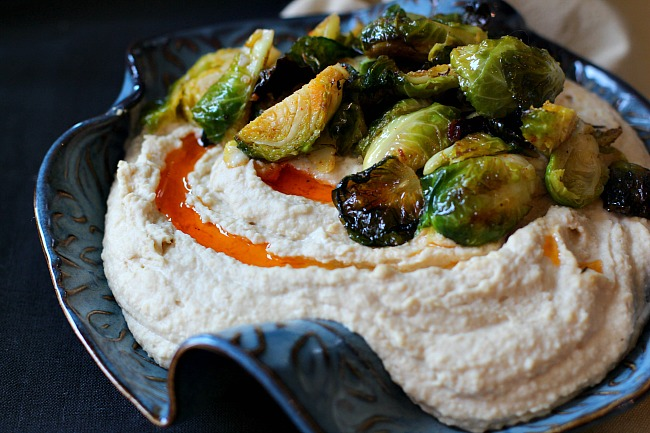 Hummus with roasted brussels sprouts recipe.
