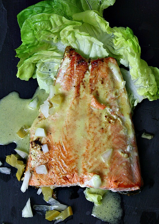 Oven roasted salmon with preserved lemon vinaigrette