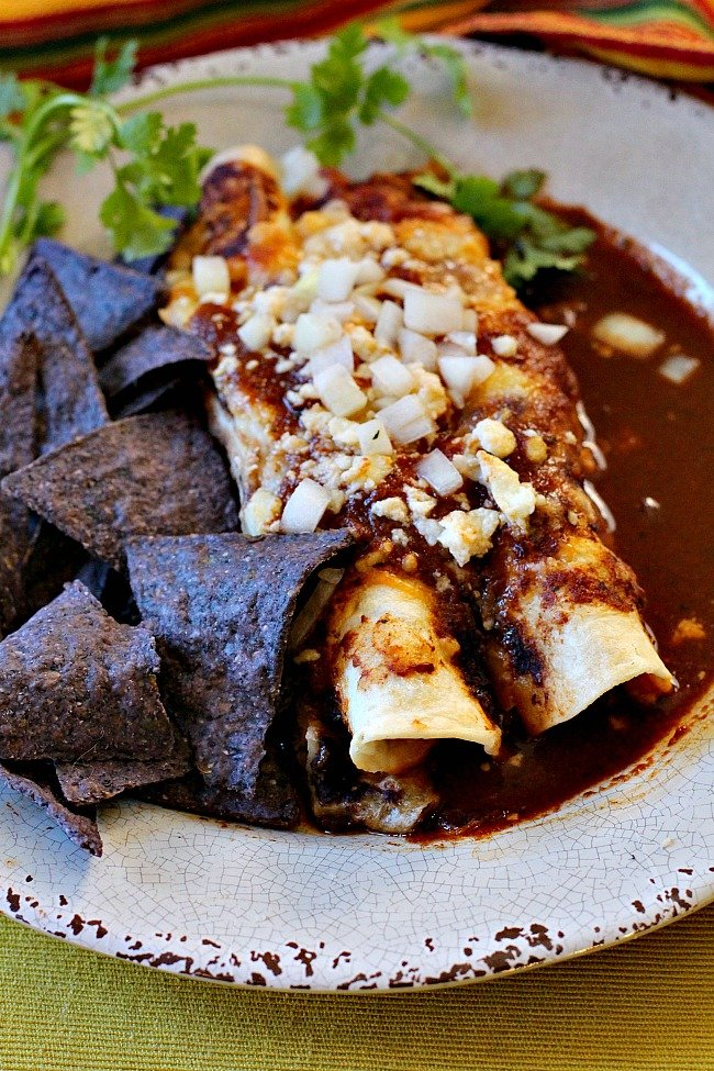 Enchilada Burritos filled with ground beef, refried beans and cheese, topped with chopped onions and enchilada sauce