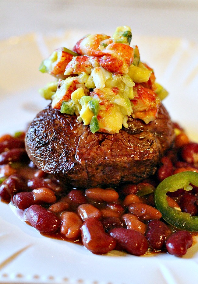 Pan Seared Filet Mignon beef tenderloin steaks topped with lobster salsa