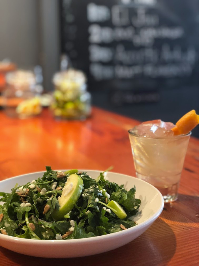 kale apple salad with cocktail