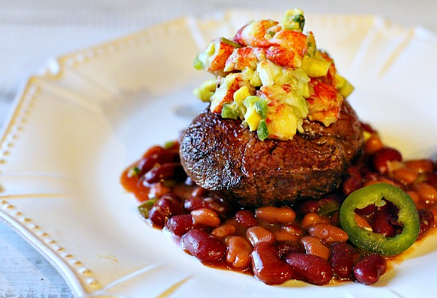 pan seared filet mignon steaks with lobster avocado salsa