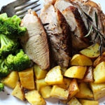 Cosori braised pork roast with broccoli and roasted potatoes, cooked in the Cosori Electric Pressure Cooker