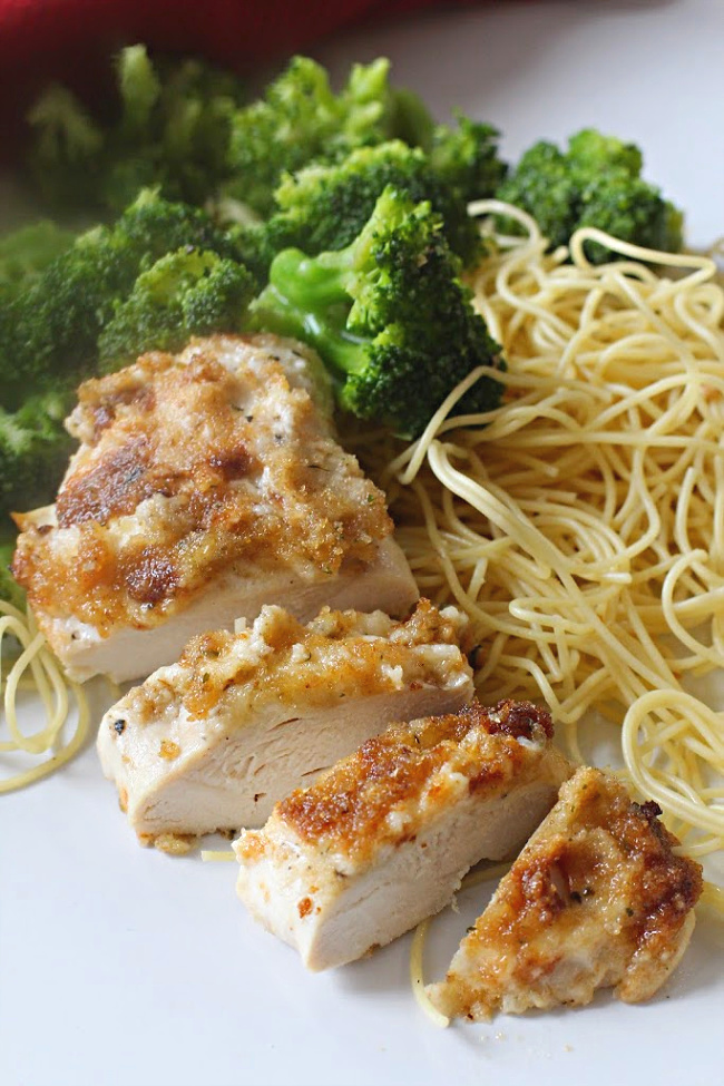 Parmesan baked chicken breasts with angel hair pasta and steamed broccoli