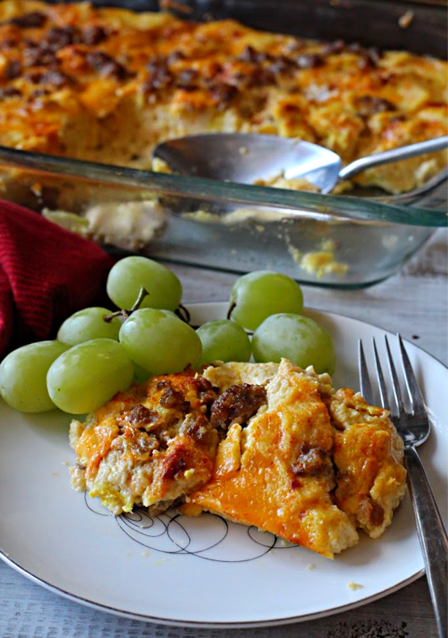 Sausage egg cheese casserole with fresh green grapes