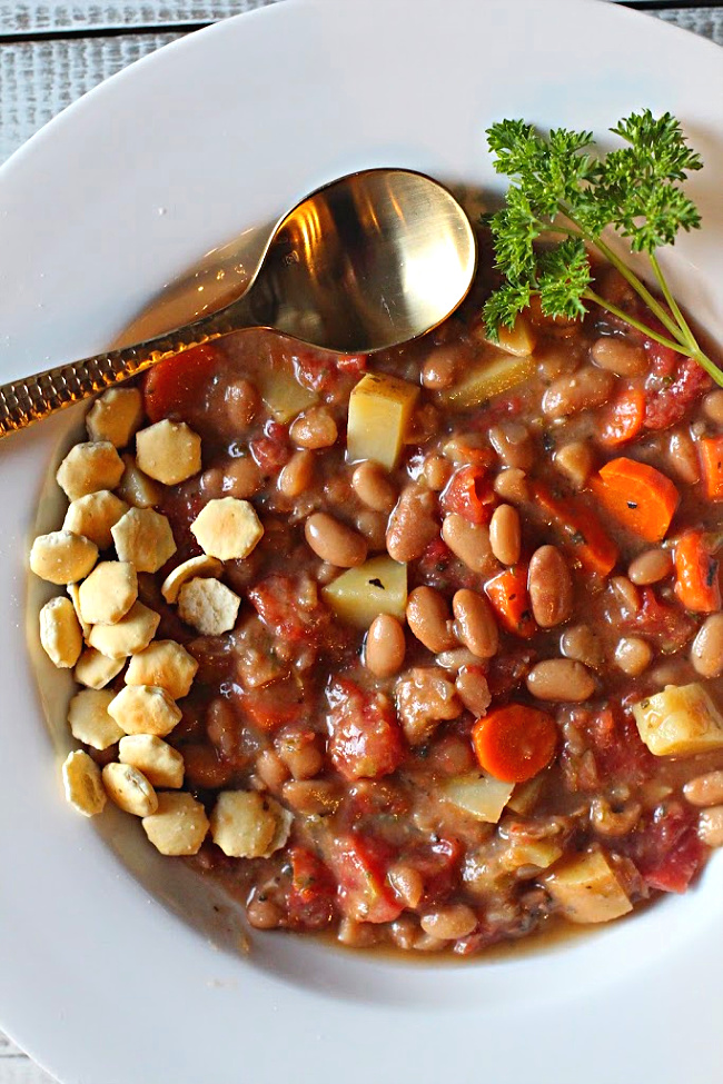 Potato soup with mayocoba beans and vegetables