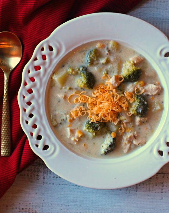 Cheesy chicken chowder with broccoli potatoes and corn