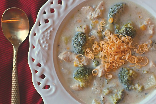 Chicken chowder with broccoli, potatoes, corn, cheese and cream of potato soup