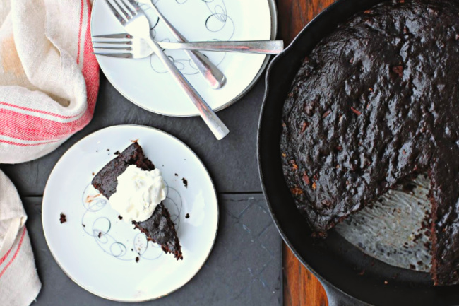 Dark Chocolate banana bread recipe baked in a cast iron skillet