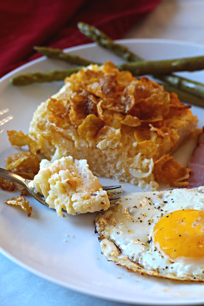 Potato Casserole with Corn Flakes and a fried egg