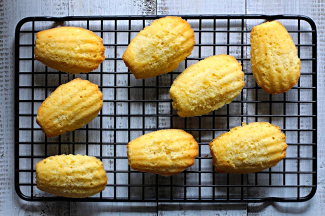 Cooked madeleines on a cooling rack