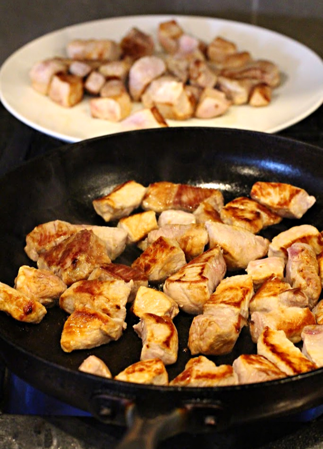 Browned pork chunks for making carne adovada