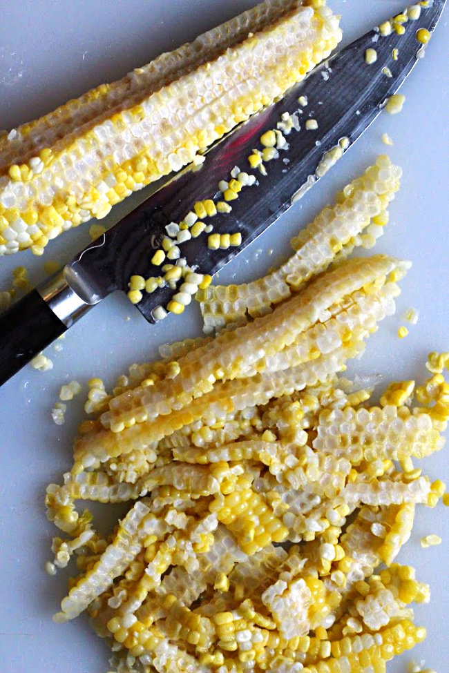 How to remove corn kernels from corn on the cob.