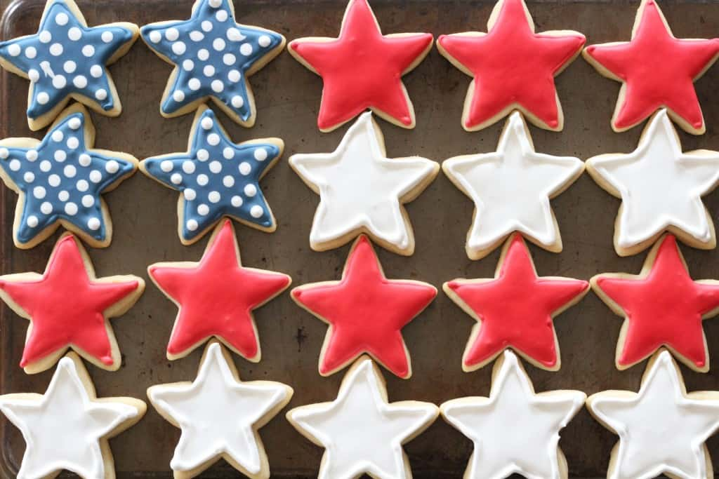 Stars and Stripes Red White and Blue Cookies for 4th of July Dessert