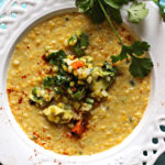 Sweet Corn Soup with Roasted Corn Guacamole