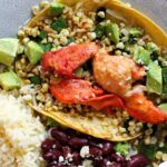 Lobster tacos with roasted sweet corn and poblano peppers