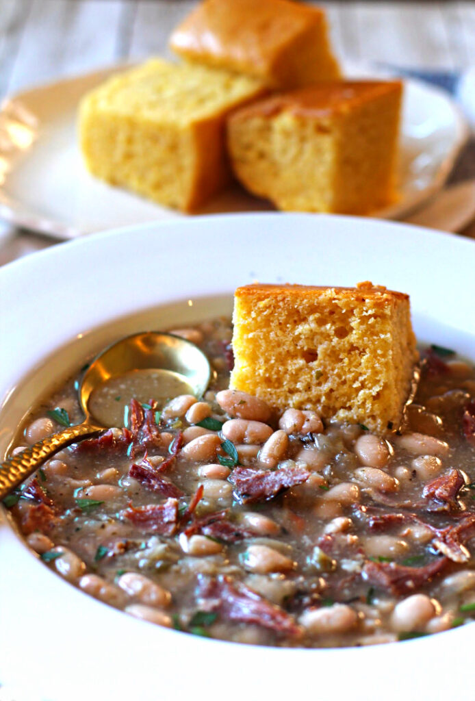 Ham and Beans soup with homemade cornbread.