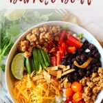 Rice Burrito Bowl with Ground Chicken tomatoes, peppers, cheese peppers and black beans