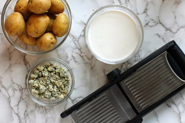 Ingredients and equipment for potatoes dauphonaise recipe