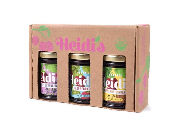 Heidi's raspberry jams in a gift box.