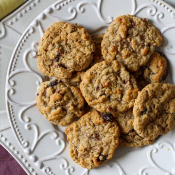Oatmeal Raisin Cookies on a decorative white plate