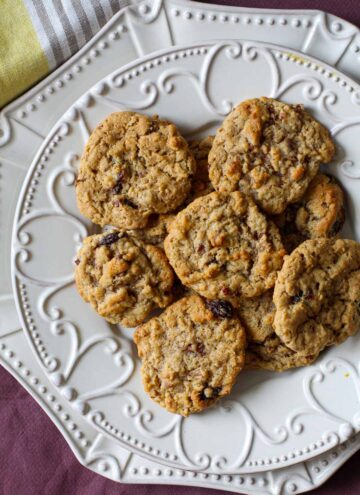 Oatmeal Raisin Cookies on a decorative white plate