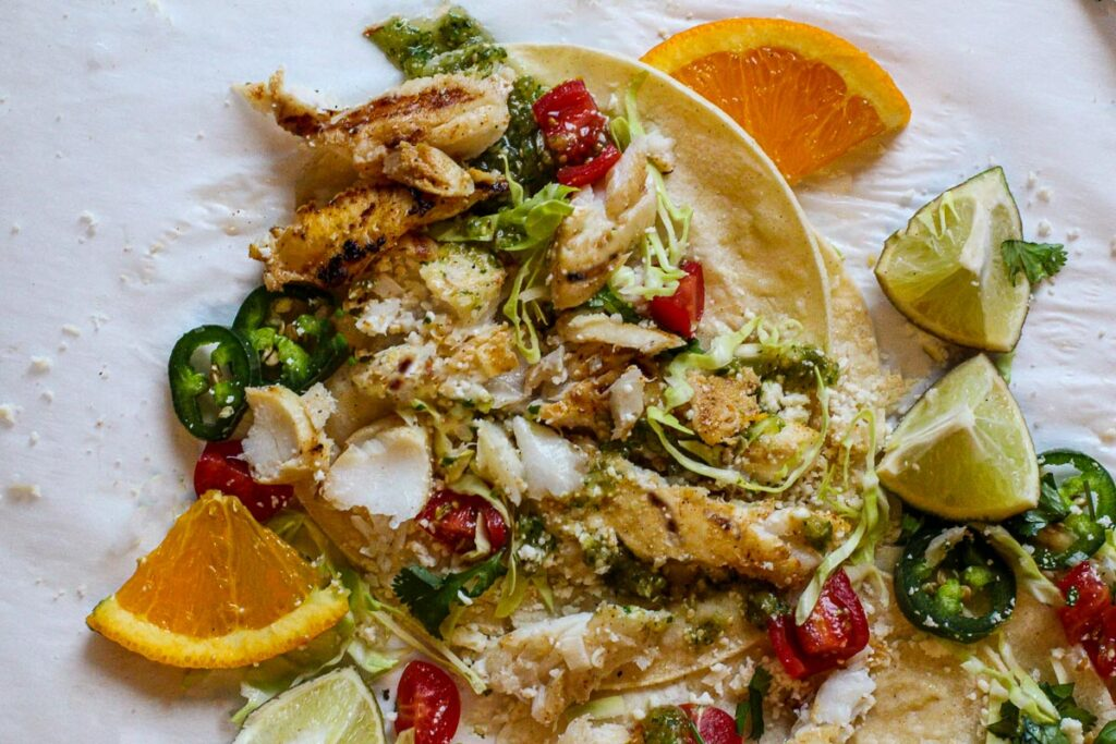 Healthy fish tacos with citrus