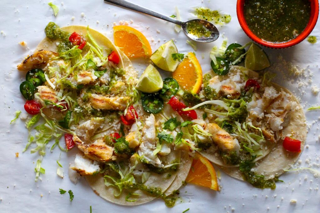 Spicy Fish tacos with cod and homemade tomatilla salsa