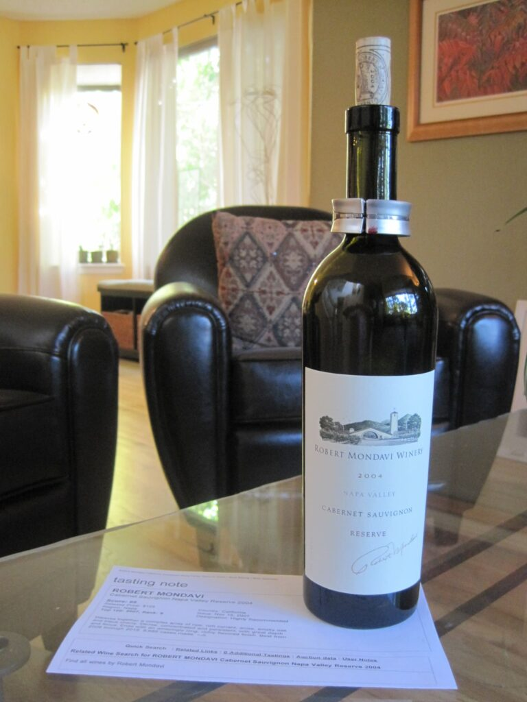 A bottle of Robert Mondavi Winery 2004 Special Reserve Cabernet Sauvignon