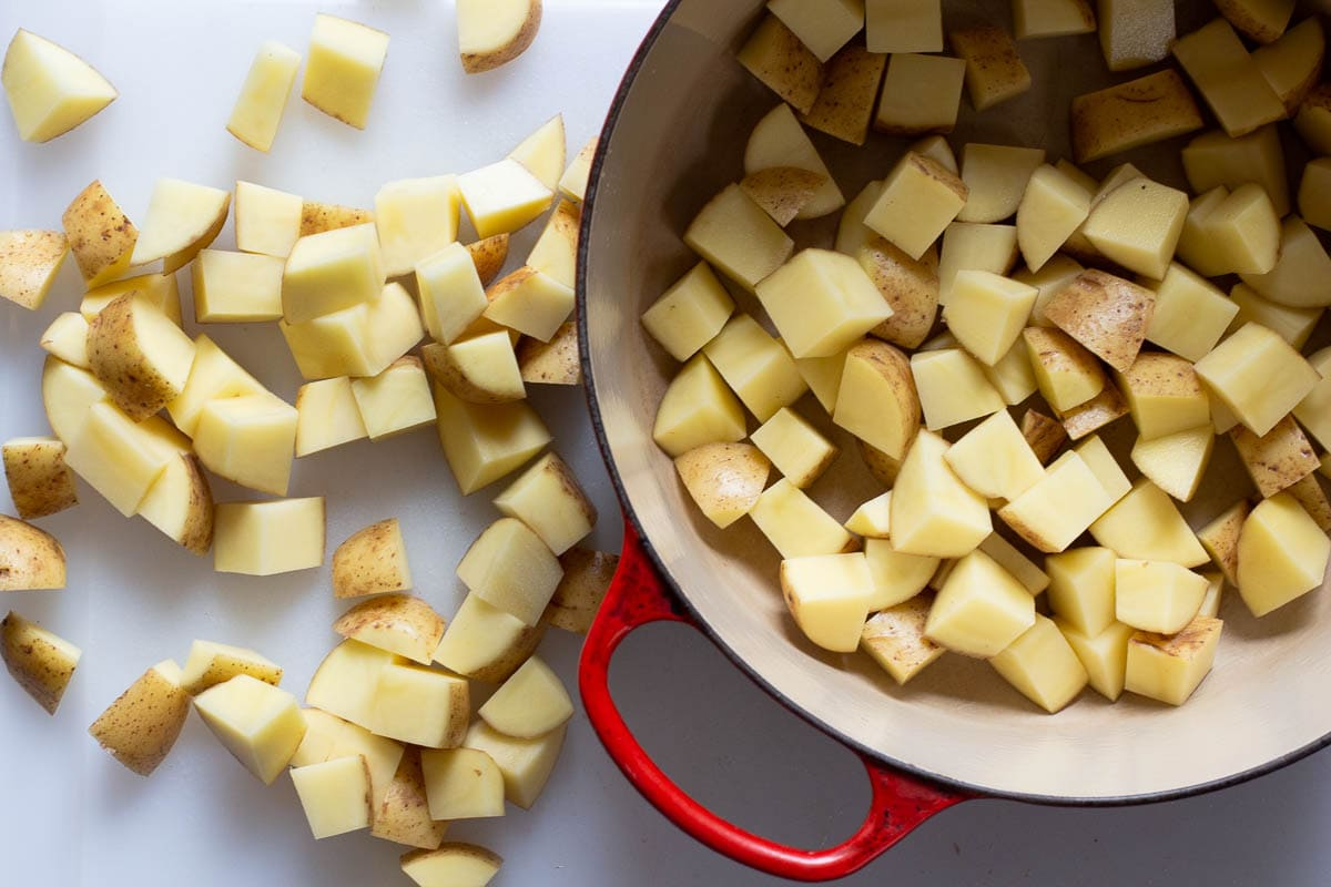 Cubed yukon gold potatoes ready to be boiled for mashed potatoes