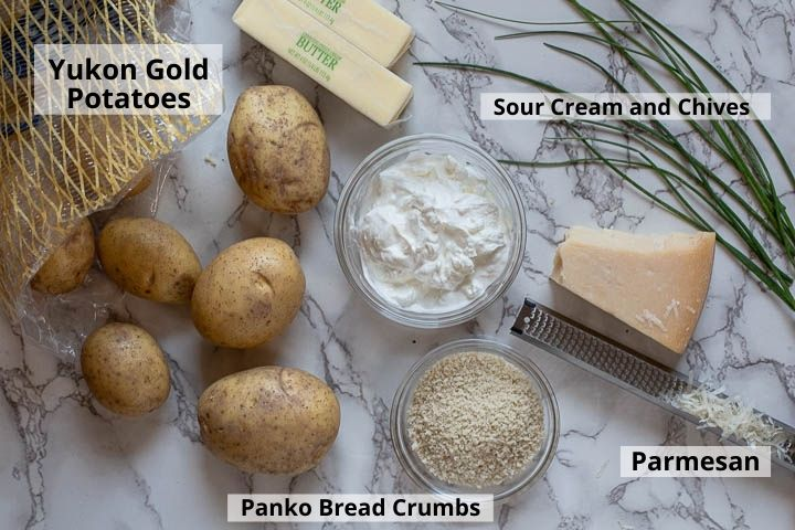 Ingredients for sour cream potatoes mashed potato casserole.