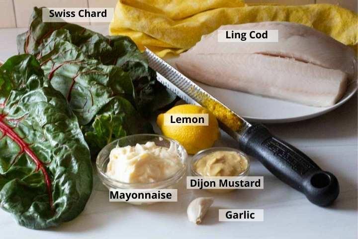 Ingredients to make ling cod recipe