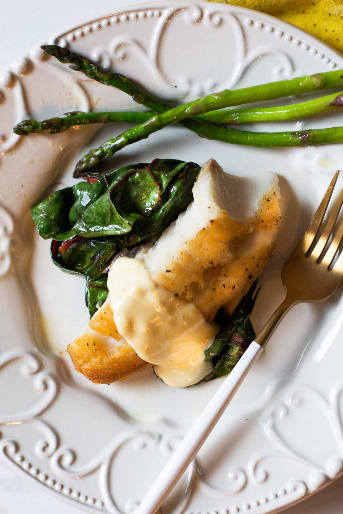 Ling cod recipe pan seared and served with lemon aioli and swiss chard